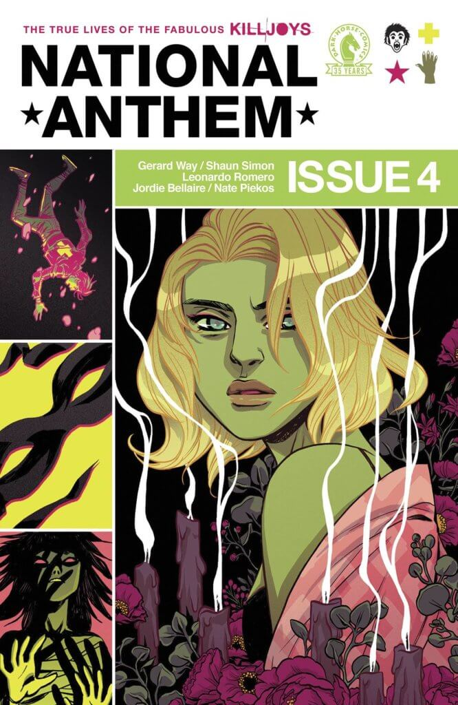 The cover of National Anthem #4, depicting a blonde woman surrounded by candles, a witch, a mask, Mike Milligram falling through darkness