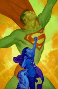 A boy emulating Superman flying