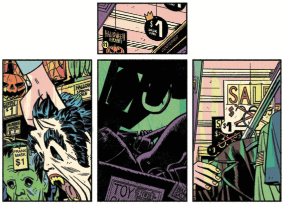 4 panels of glimpses of a convenience store; signs for the halloween aisle, picking up a mask, a jacket, the shadow of a gun