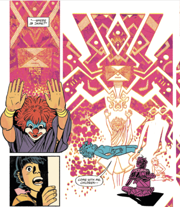 The witch, wearing a clown mask, performs magic in bright pink and orange geometrical shapes. Cara glows blue and floats, being healed. Mike sits beside her and watches, Jaime watches with awe from a doorway