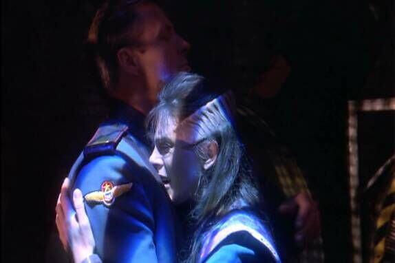 Sheridan and Delenn hug.