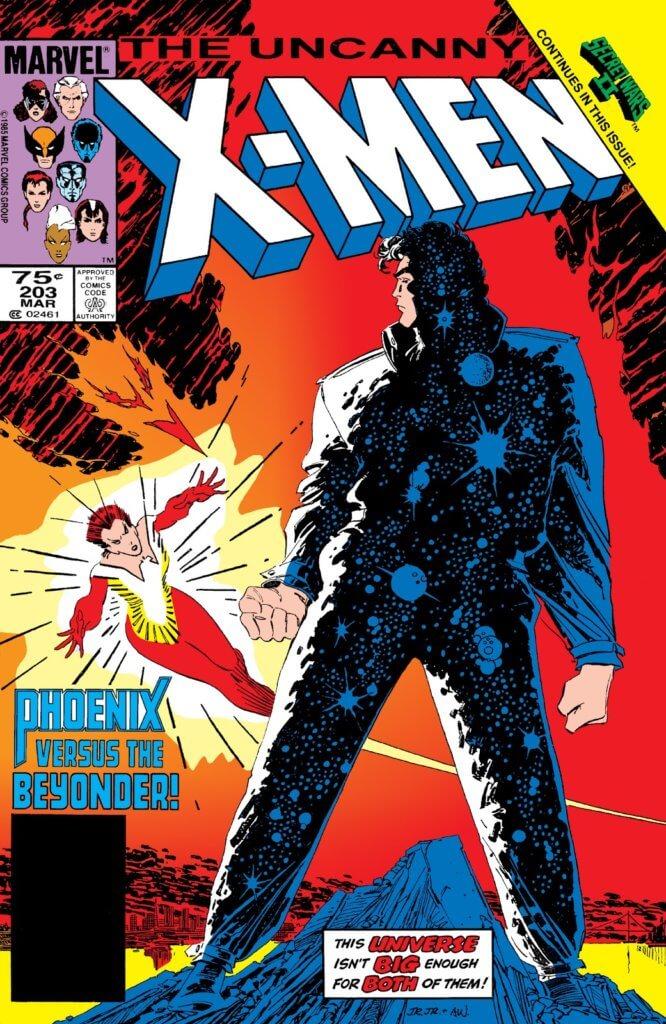 Uncanny X-Men #203 cover by John Romita Jr. depicting Rachel Summers as Phoenix and the Beyonder