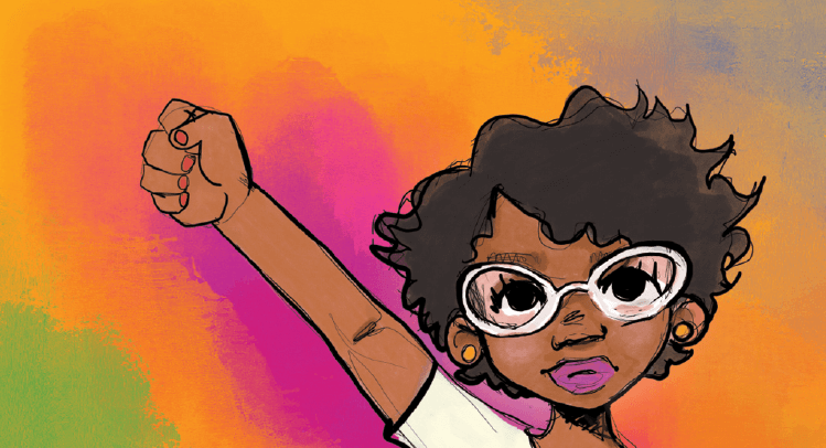 A person with brown skin, glasses, and short curly hair raises their right fist to the sky