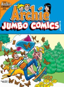Archie Andrews, a teenager in a gold and white football jersey and blue jeans Frolics cheerfully with his blonde-haired girlfriend Betty cooper, who sports a blonde ponytail and a red and white striped top and shorts. Betty and Archie strive to catch butterflies with their giant nets. Archie's dog, Vegas, frolicks at is ankles, and they play in a green festooned park.