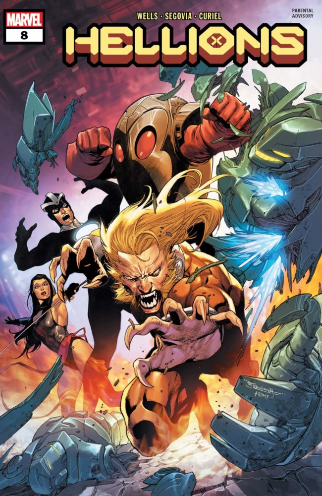 Cover of Hellions #7: Wild Child is lunging forward with the rest of the team behind him in battle poses, Stephen Segovia, - Marvel Comics, January 2021