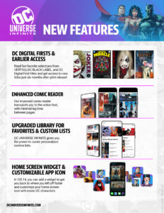 Infographic with the new features of DC Universe Infinite