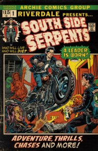 In a parody of the cover art for Ghost Rider #1, a Riverdale-ized Jughead Jones leaps toward leather jacket-clad enemies. The title trumpets the South Side Serpents
