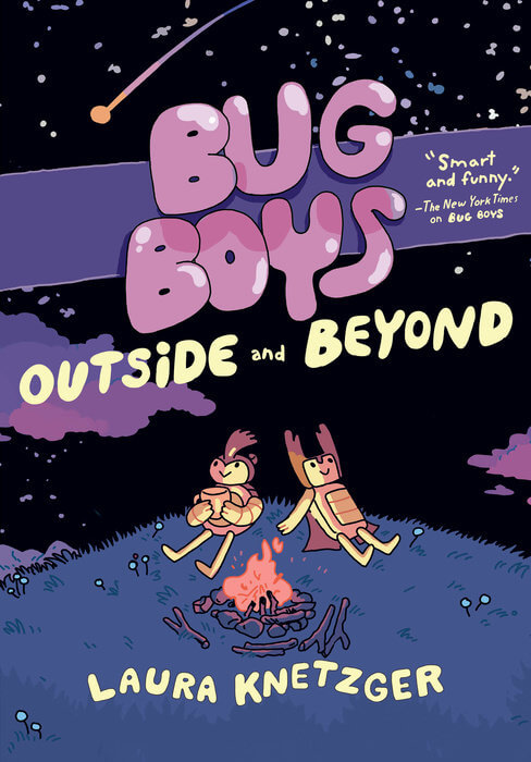 Cover of Bug Boys by Laura Knetzger published by RH Graphic, showing Rhino-B and Stag-B sitting in front of a campfire.