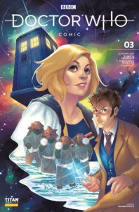 The Tenth and Thirteenth Doctors stand ready to do battle with some aliens, while the TARDIS floats in the background.