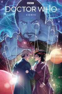 The Twelfth Doctor confronts Missy on a background of planets in space, but The Doctor and Missy appear to be puppets being controlled by a man with a goatee.