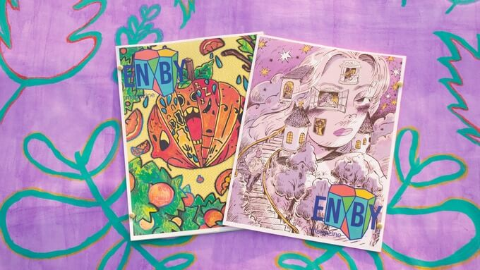 The two covers to the Mind & Body issue of ENBY Magazine. The cover on the left is by Vincy Lim, and features a pumpkin with different expressions shown in each ridge. The cover on the left is by Sunmi, and features a portrait illustration of a person with long hair. Steps descend out of their neck, and their face houses many windows.