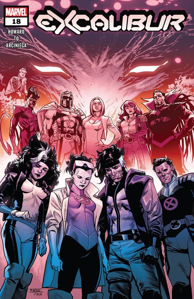 The Krakoan Council looming over Excalibur on the cover of Excalibur #18