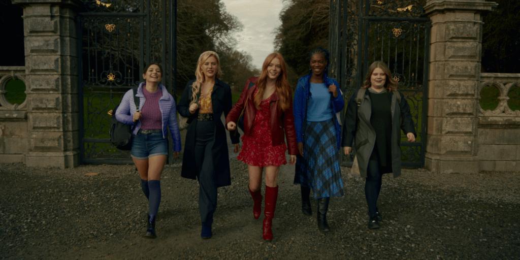 Hannah van der Westhuysen as Stella, Eliot Salt as Terra, Abigail Cowen as Bloom, Elisha Applebaum as Musa, Precious Mustapha as Aisha in Fate: The Winx Club Saga.