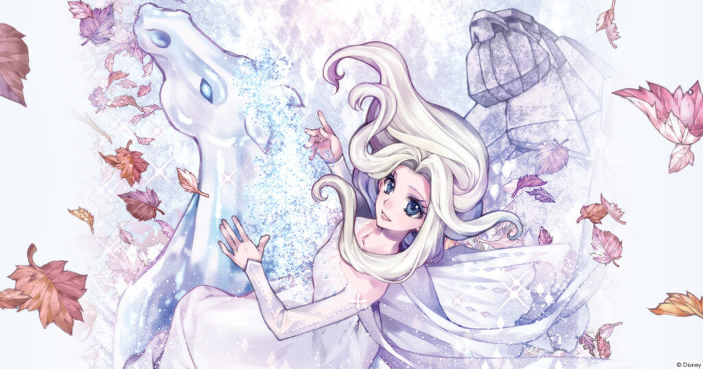 promotional image for the Frozen II manga showing Elsa on an ice horse.