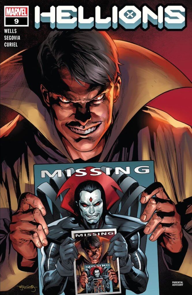 Mastermind Holding A Missing Poster of Sinister Holding a Missing Poster of Mastermind ad nauseum - Hellions #9 cover
