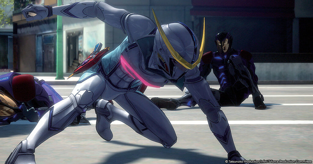 screenshot from Infini-T Force movie showing the character lunging.
