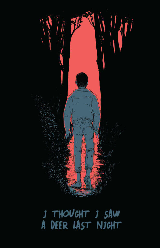 A person walking into a dark wood