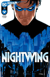 Nightwing #78 cover Nightwing portrait with a cityscape in his chest emblem
