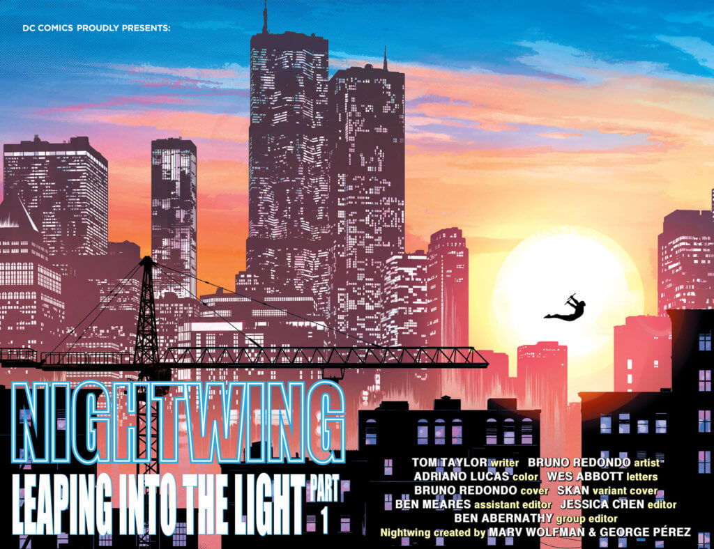 Nightwing leaping in front of a cityscape at sunset - Nightwing #78