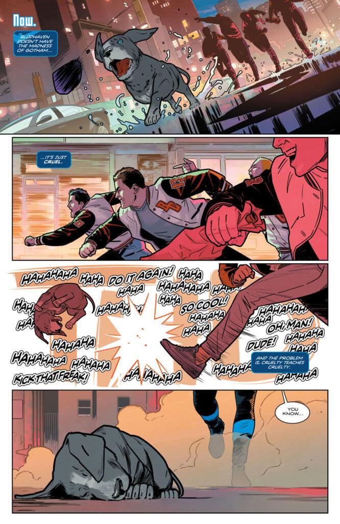 Assholes kicking a dog in Nightwing #78