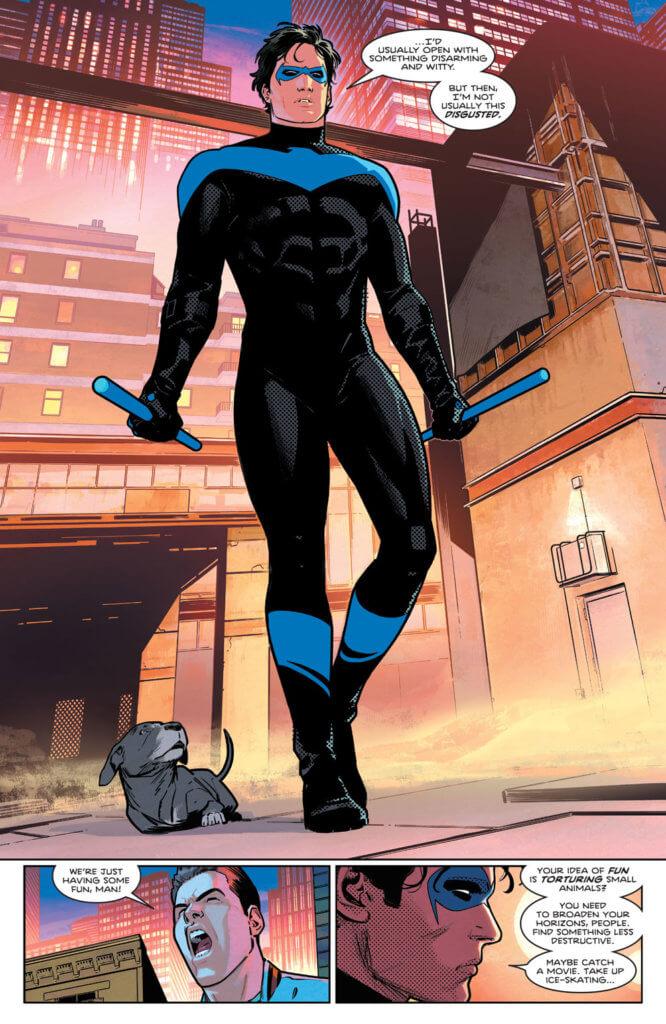 Nightwing approaching bullies in Nightwing #78