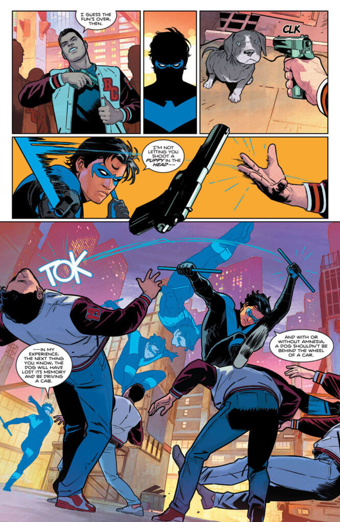 Nightwing beating down the dog abusers