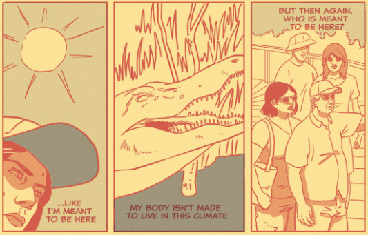 3 panels 1. a person 2. a crocodile, 3. 4 people, all sweating under a hot sun.