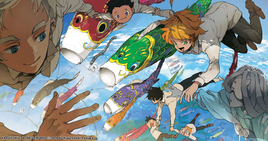 promotional image depicting the main characters from the promised neverland flying with fish-shaped kites.