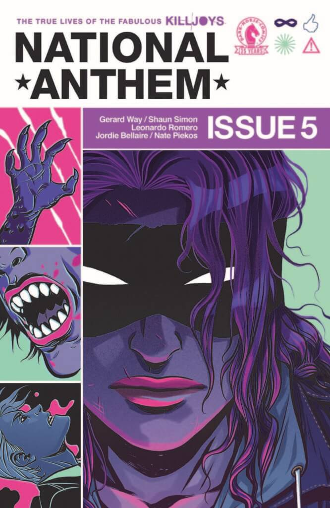 The cover of The True Lives of the Fabulous Killjoys: National Anthem #5, depicting a woman in a mask all in purple, sharp teeth and claws.