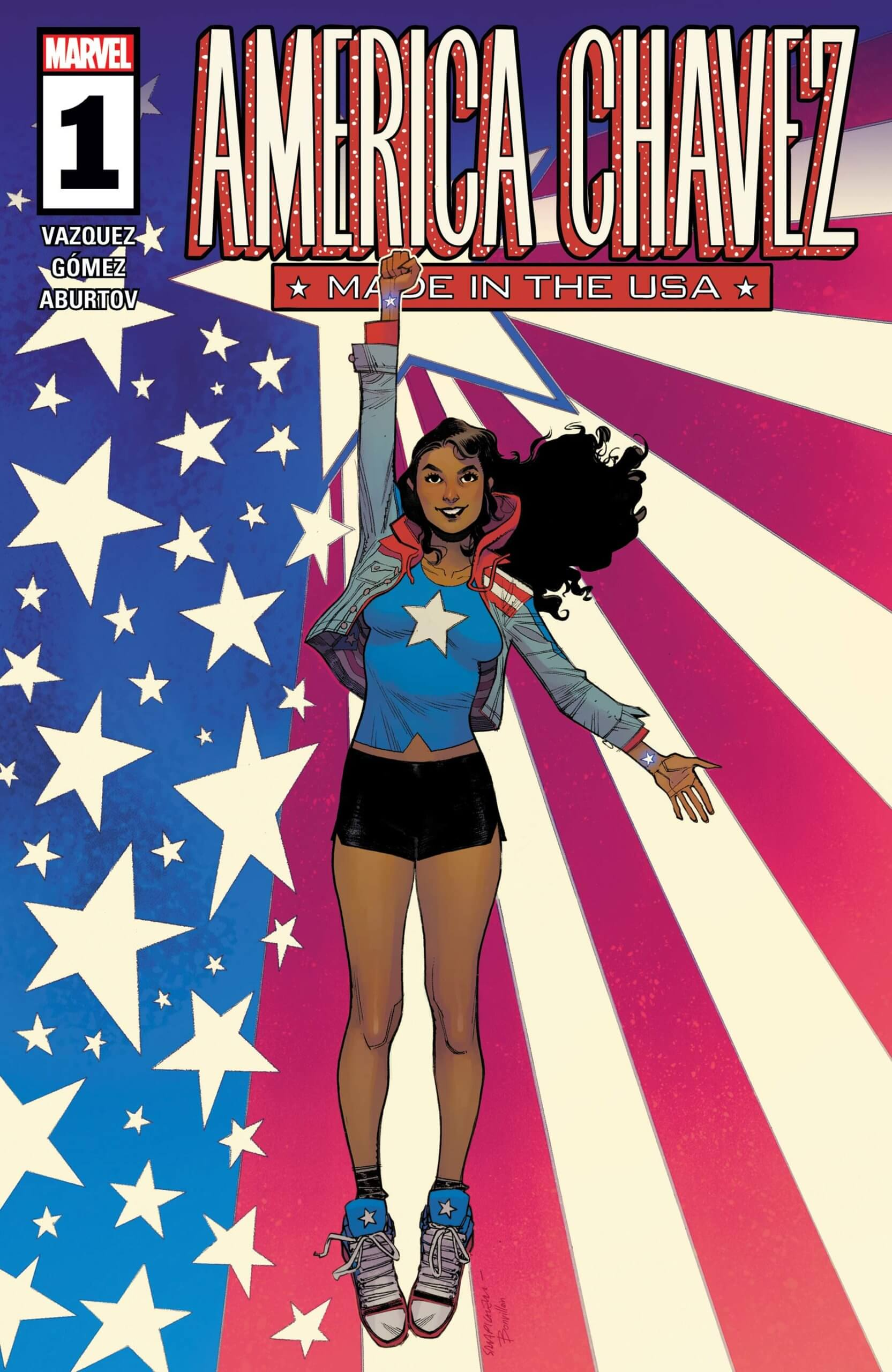 Cover for America Chavez: Made in the USA #1, art by Sara Pichelli and Tamra Bonvillain, Marvel, 2021