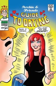 "A redhead in a black dress with a blue towel draped over her arm faces red-headed Archie Andrews before a yellow and blue backdrop, saying ""Face it Archie You Hit The Jackpot"""