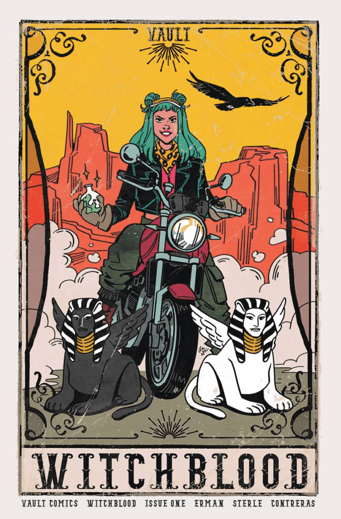 A variant cover of Witchblood #1, showing Yonna on her motorcycle with two sphinxes on either side of her.