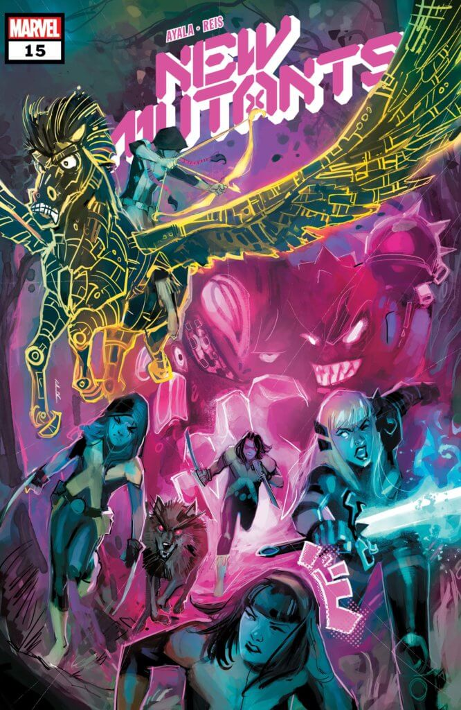The New Mutants team is ready for battle in a neon blue and pink battle. Dani rides Warlock, who is shaped like an angry pegasus. New Mutants #15 (Marvel, January 2021).