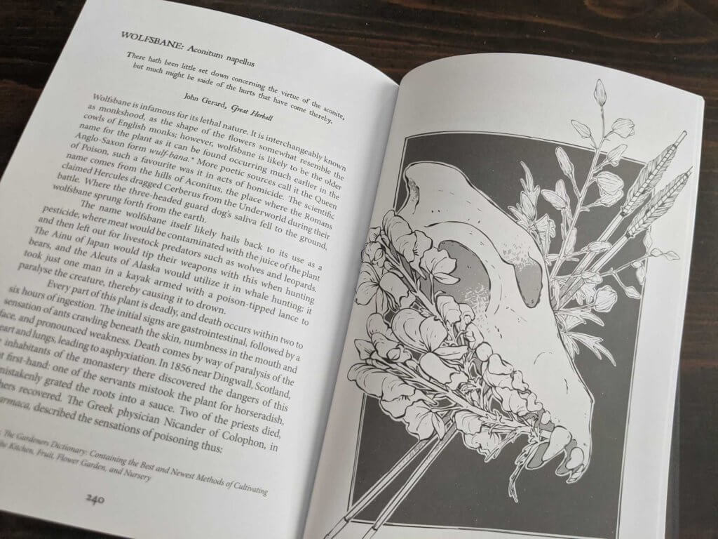 The entry for Wolfsbane. It includes an ink drawing of the flowering plant, accompanied by a wolf skull and two arrows.
