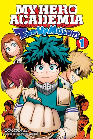 My Hero Academia Team Up Missions Volume 1 cover depicting Deku front and center with Uraraka, Bakugou, and Todoroki around him.