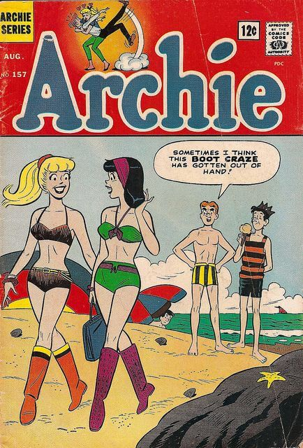 Cover of Archie Comics #157 (August 1965) featuring Betty and Veronica wearing boots with their bikinis on the beach