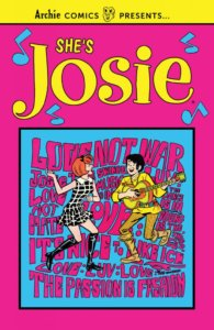 Josie McCoy - a redheaded white teenager wearing mod fashions - seems to be caught mid-step in her boots and stockings and black and green checked mini-dress. he's dancing with a brunet, white teenage boy in a yellow day-glow suit. The background is blue with bright pink letters in mod writing