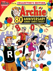 Archie Andrews - a redheaded teenager in a sweater vest with an R for Riverdale emblazoned upon it, a green bowtie and a white short-sleeved shirt - stands with his arms outstretched before a wild scene. On the floor, in a yellow shirt and blue pants is Reggie Mantle, his party hat askew and a grumpy expression upon his face. Beside him is Veronica Lodge, a white brunette teenager in a purple party dress, dancing and laughing with white, blonde-haired Betty Cooper, who wears a black mini dress. They're laughing at Reggie's misfortune - for on Reggie's back is perched Jughead Jones, a white brunet teenager wearing a grey fool's cap, a red shirt, a bright tie and black pants. He's holding large Red numbers - an 8 in his right and a 0 in his left. In the background purple silhouetted guests party against a yellow backdrop, and one filled with multicolored streamers and balloons.