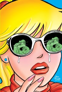 An extreme Close-up of blonde teenager betty cooper's face reveals Archie Andrews and Veronica Lodge as green shadows kissing in the lenses of her white-rimmed sunglasses. Tears drip down from behind the frame, and her fingertip hover over her lip, a clear masque of horror