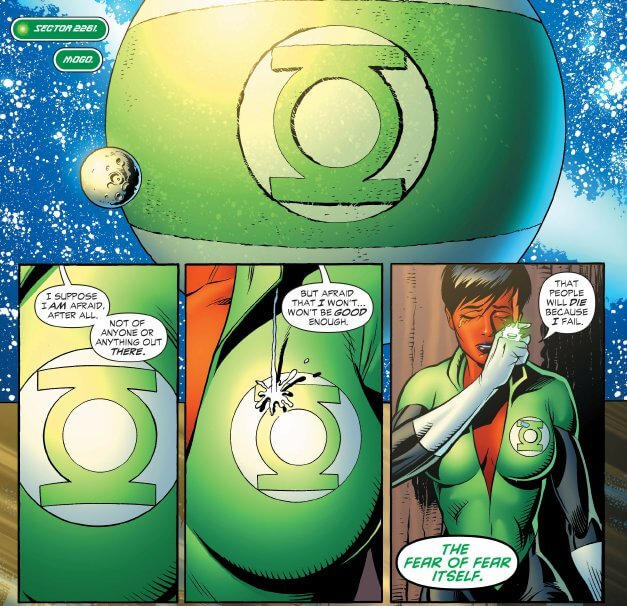 A giant orb with the Green Lantern symbol becomes a boob