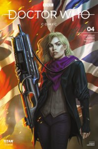 Rose, a blond haired woman, stands with a large machine gun with the UK flag in the background