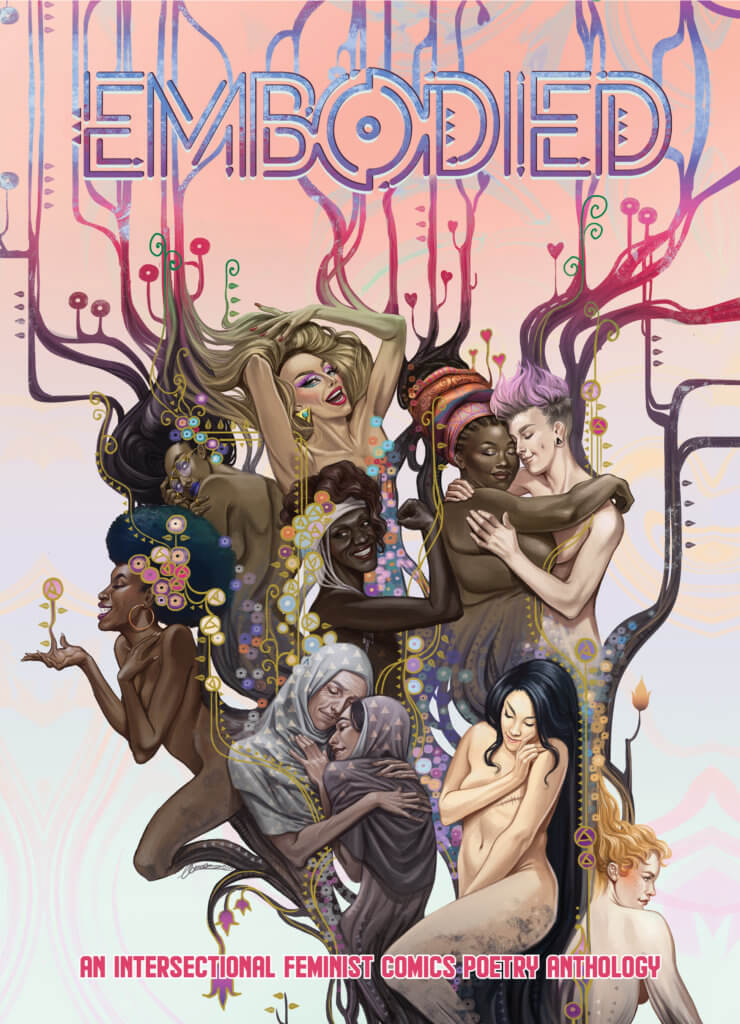 The cover of Embodied featuring various women and non-binary people embracing and expressing love and joy