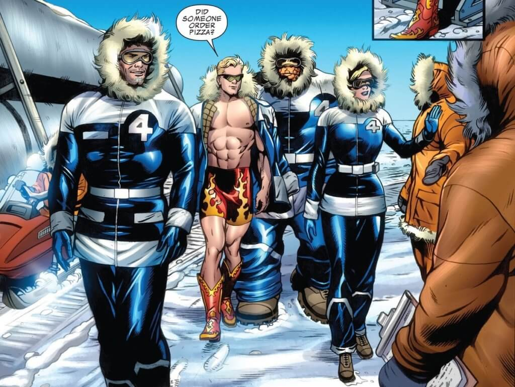 The Fantastic Four greet people in a wintery climate, all wearing winter attire, except for Johnny, who is wearing shorts and cowboy boots with flames on them