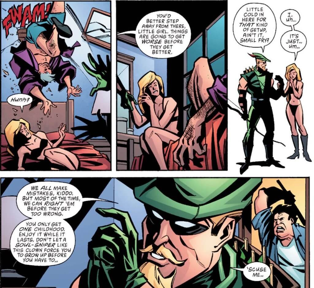 Comic panels featuring Mia Dearden and Green Arrow