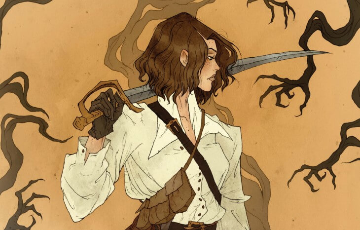 A woman with shoulder length brown hair looks to the side, a long sword slung over her shoulder