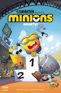 In a sports stadium, three minions stand on an awards podium. The Minion in the first place spot is celebrating with part of their trophy, the majority of which has fallen on the third place Minion, while the second place Minion looks on in shock.