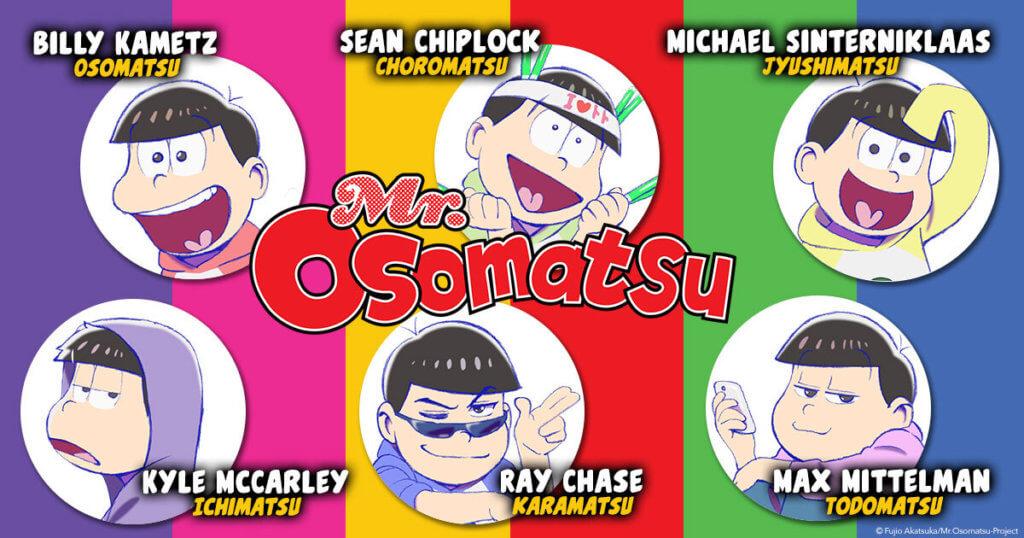 Mr. Osomatsu Dub Cast Announcement showing the english voice actors for the main cast