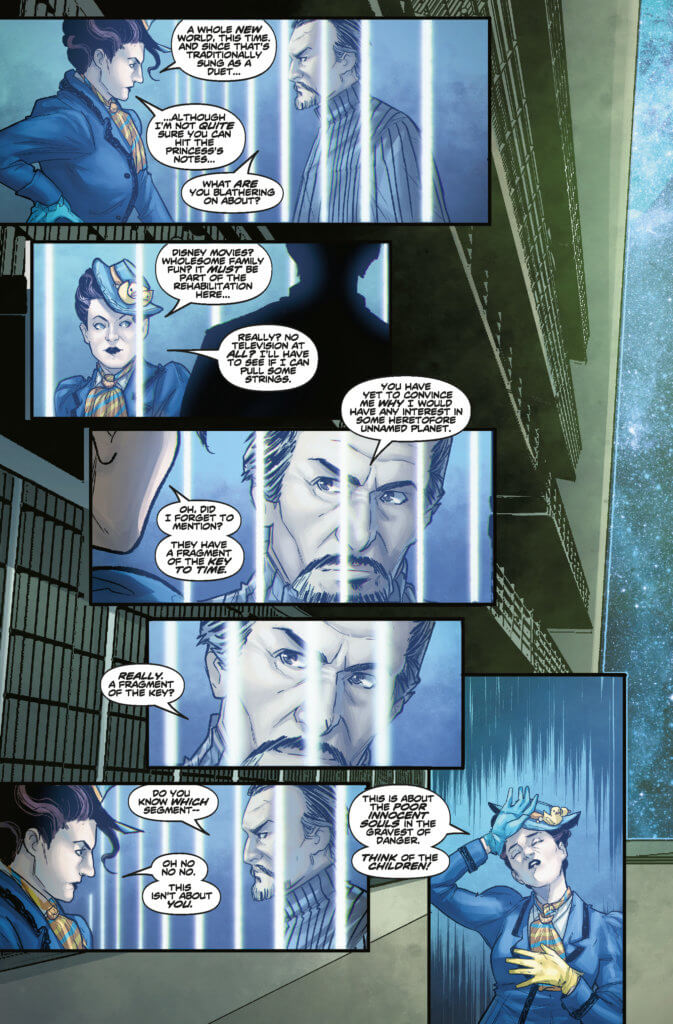 A page from Doctor Who: Missy #1, where a brunette woman in Victorian attire confronts a man with a goatee who appears to be behind bars.