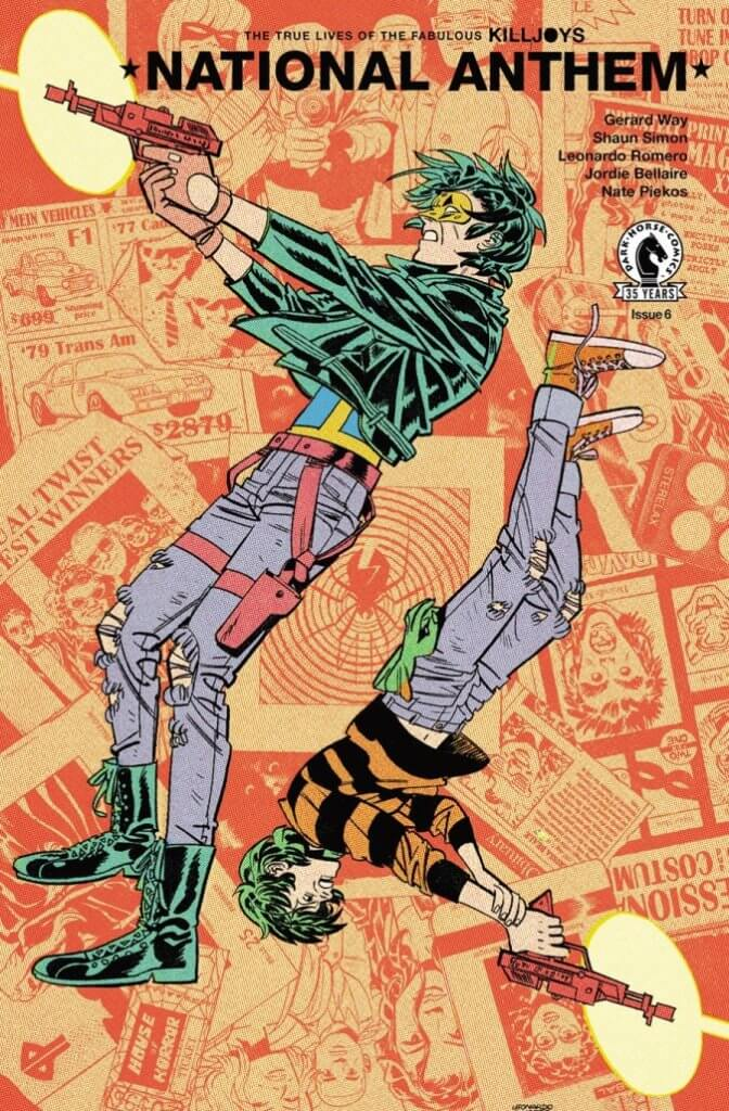 Cover of National Anthem #6, depicting Mike Milligram and his son Jaime shooting matching blasters