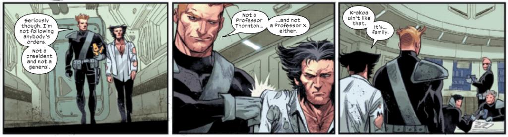 Maverick and Wolverine discuss Krakoa. By Percy, Kubert, Martin, Petit.